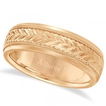 Hand Engraved Wedding Band Carved Ring in 18k Rose Gold (4.5mm)