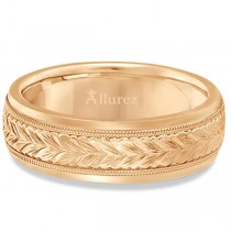 Hand Engraved Wedding Band Carved Ring in 18k Rose Gold (4.5mm)|escape