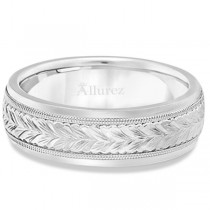 Hand Engraved Wedding Band Carved Ring in 18k White Gold (4.5mm)