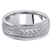Hand Engraved Wedding Band Carved Ring in 14k White Gold (6.5mm)