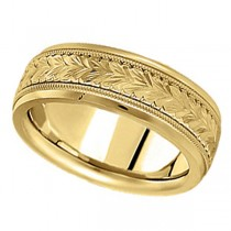 Hand Engraved Wedding Band Carved Ring in 14k Yellow Gold (6.5mm)