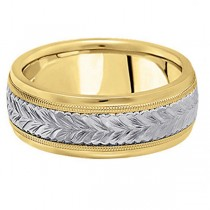 Hand Engraved Two Tone Wedding Band Carved Ring in 18k Gold (6.5mm)