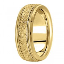 Hand Engraved Wedding Band Carved Ring in 18k Yellow Gold (6.5mm)