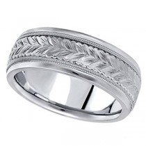 Hand Engraved Wedding Band Carved Ring in Platinum (6.5mm)