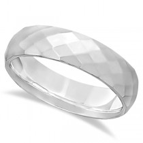 Modern Diamond Carved Wedding Ring 14k White Gold (6mm)