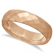 Modern Diamond Carved Wedding Ring 18k Rose Gold (6mm)