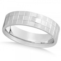 Men's Square Carved Wedding Band Plain Metal 14k White Gold 7mm