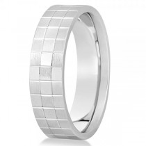 Men's Square Carved Wedding Band Plain Metal 14k White Gold 7mm