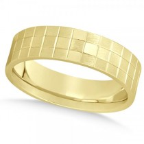 Men's Square Carved Wedding Band Plain Metal 14k Yellow Gold 7mm