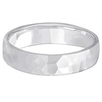 Men's Hammered Finished Carved Band Wedding Ring 14k White Gold (5mm)