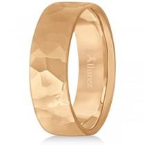 Men's Hammered Finished Carved Band Wedding Ring 14k Rose Gold (7mm)