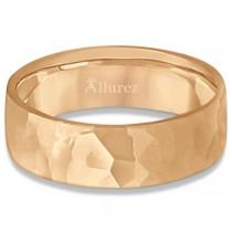 Men's Hammered Finished Carved Band Wedding Ring 18k Rose Gold (7mm)|escape