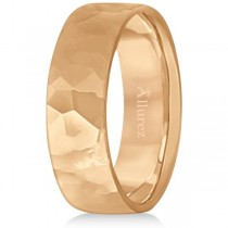 Men's Hammered Finished Carved Band Wedding Ring 18k Rose Gold (7mm)