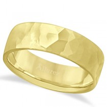Men's Hammered Finished Carved Band Wedding Ring 18k Yellow Gold (7mm)