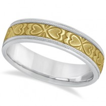 Mens Carved Wedding Band Heart Shape Design 14k Two-Tone Gold (5.5mm)