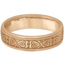 Mens Carved Wedding Band Heart Shape Design 18k Rose Gold (5.5mm)