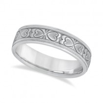 Mens Carved Wedding Band Heart Shape Design 18k White Gold (5.5mm)