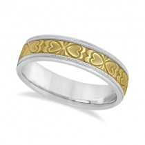 Mens Carved Wedding Band Heart Shape Design 18k Two-Tone Gold (5.5mm)