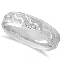 Men's Diamond Cut Carved Wedding Band in 14k White Gold (6mm)