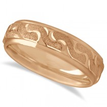 Men's Diamond Cut Carved Wedding Band in 18k Rose Gold (6mm)