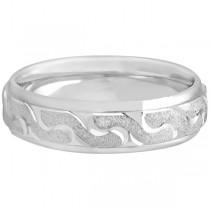 Men's Diamond Cut Carved Wedding Band in Platinum (6mm)