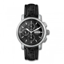 Allurez Diamond & Black Crocodile Skin Mechanical Timepiece (1.10ct)