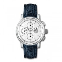 Allurez Diamond & Blue Crocodile Skin Chronograph Timepiece (1.10ct)