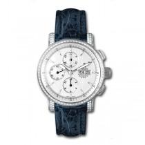 Allurez Diamond & Blue Crocodile Skin Chronograph Timepiece (1.10ct)