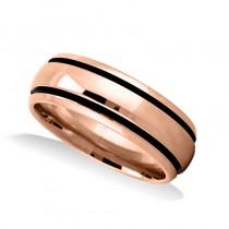 Highly Polished Channel Mens Wedding Band Ring 14K Rose Gold