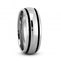 Highly Polished Channel Mens Wedding Band Ring 14K White Gold