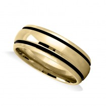 Highly Polished Channel Mens Wedding Band Ring 14K Yellow Gold