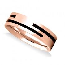 Satin Finished Mens Wedding Band Ring 14K Rose Gold