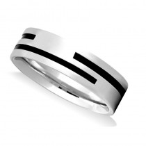 Satin Finished Mens Wedding Band Ring 14K White Gold