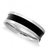Mens Burnished & Polished Channel Wedding Band Ring 14K White Gold
