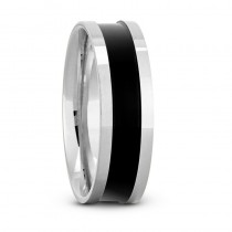 Mens Burnished & Polished Channel Wedding Band Ring 14K White Gold