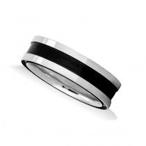 Burnished Mens Wedding Band Ring 14K White Gold