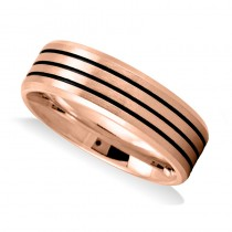 Triple Line Satin Mens Wedding Band Ring 14K Rose Gold