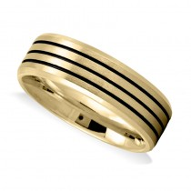 Triple Line Satin Mens Wedding Band Ring 14K Yellow Gold