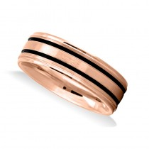 Double Line Satin Mens Wedding Band Ring 14K Rose Gold