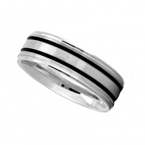 Double Line Satin Mens Wedding Band Ring 14K White Gold