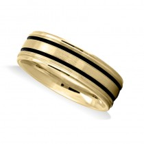 Double Line Satin Mens Wedding Band Ring 14K Yellow Gold