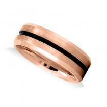 Mens Beveled Edge Satin Wedding Band Ring 14K Rose Gold