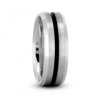 Mens Beveled Edge Satin Wedding Band Ring 14K White Gold