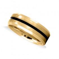 Mens Beveled Edge Satin Wedding Band Ring 14K Yellow Gold