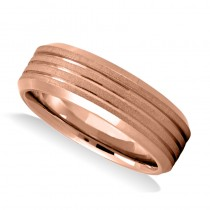 Triple Line Satin & Polished Mens Wedding Band Ring 14K Rose Gold