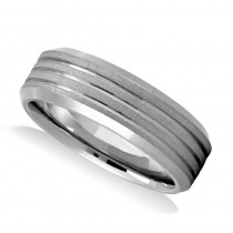 Triple Line Satin & Polished Men's Wedding Band Ring 14K White Gold