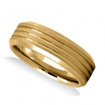 Triple Line Satin & Polished Mens Wedding Band Ring 14K Yellow Gold