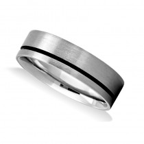 Polished & Burnished Mens Wedding Band Ring 14K White Gold