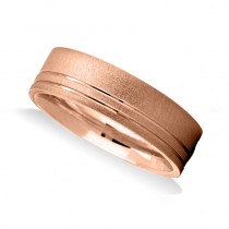 Double Line Satin & Polished Mens Wedding Band Ring 14K Rose Gold