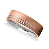 Two Tone Mens Wedding Band Ring 14K Gold